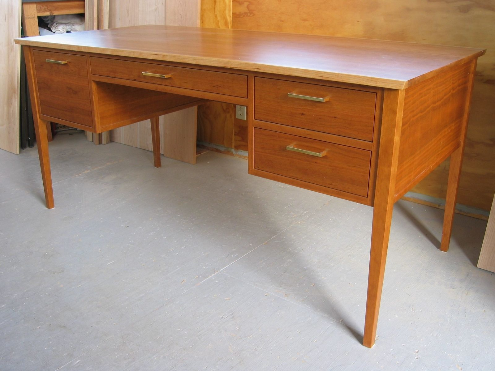 Custom Made Cherry Mid Century Modern Shaker Office Writing Desk