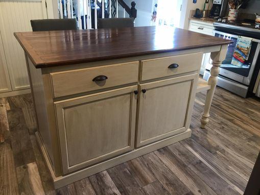 Custom Made Kitchen Island With Bookshelf