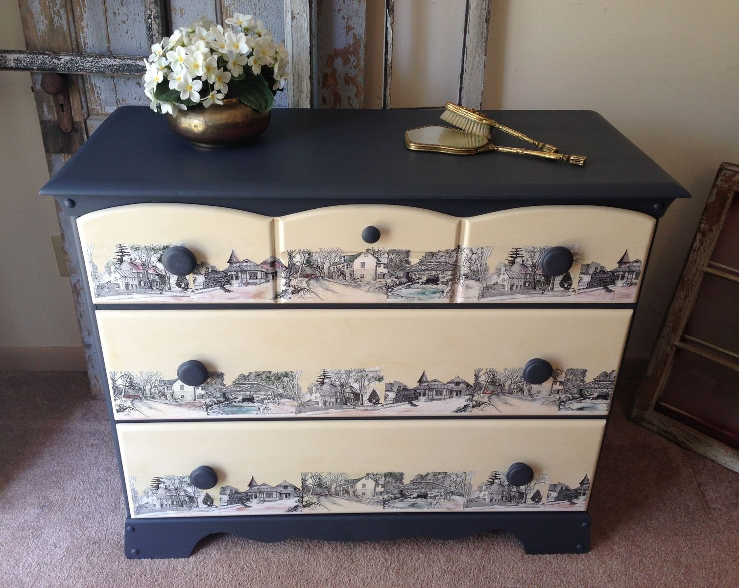 Hand made vintage painted decoupaged 3 drawer dresser by for Painted tables decorating ideas