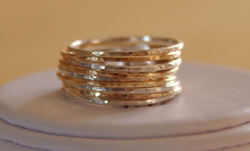 Custom Made 14k Gold Filled & Sterling Silver Stackable/Stacking Rings - Set Of 9