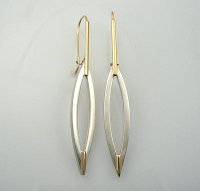 Custom Made 14k Gold And Sterling Silver Leaf Earrings