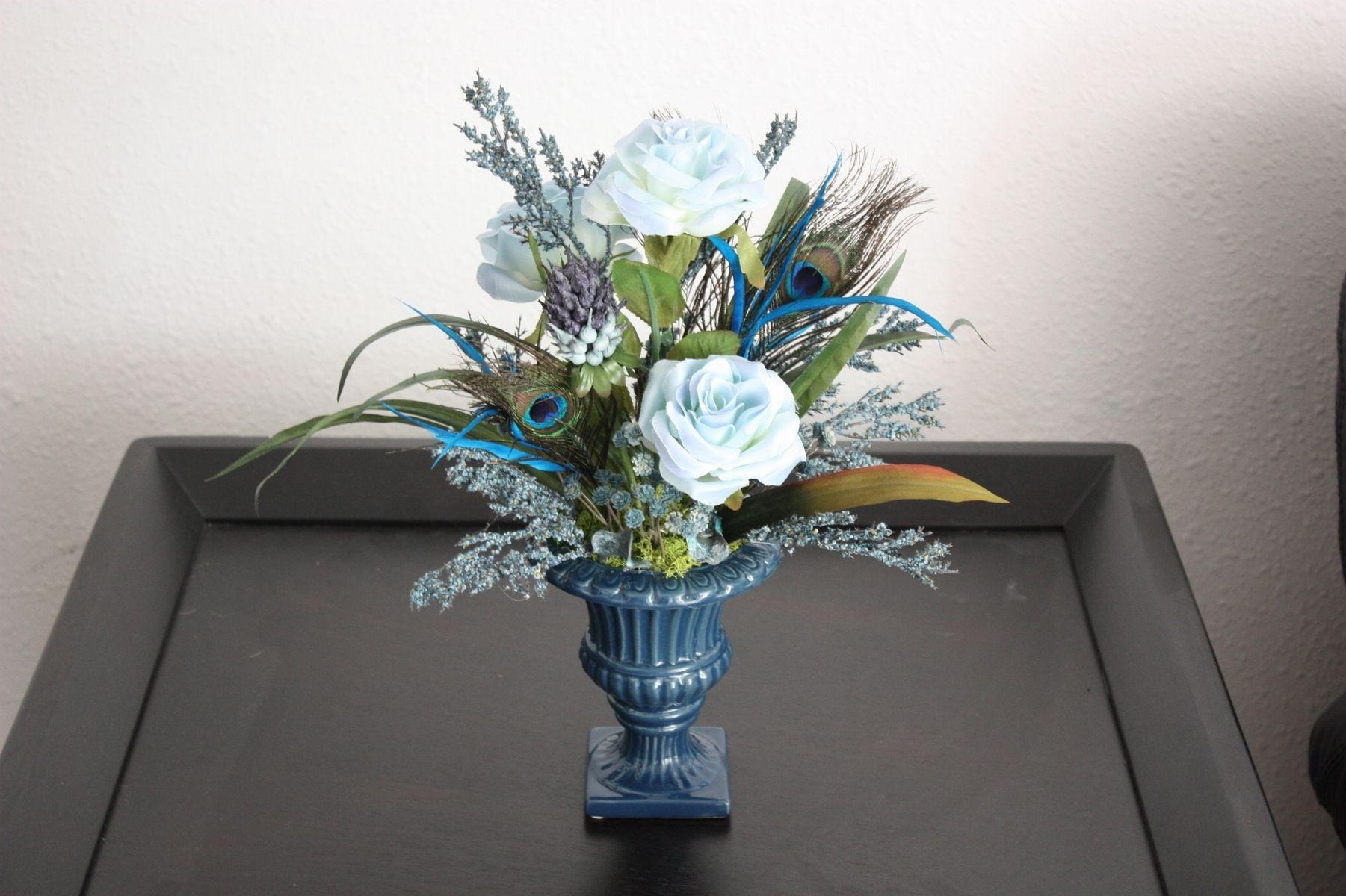 Handmade Silk Flower Arrangement Home Office Decor Dining Room