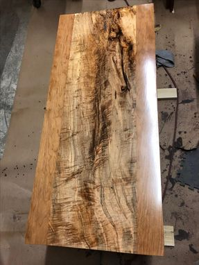 Custom Made Modern Desk, Waterfall Leg, Minimalist, Spalted Maple And Cherry