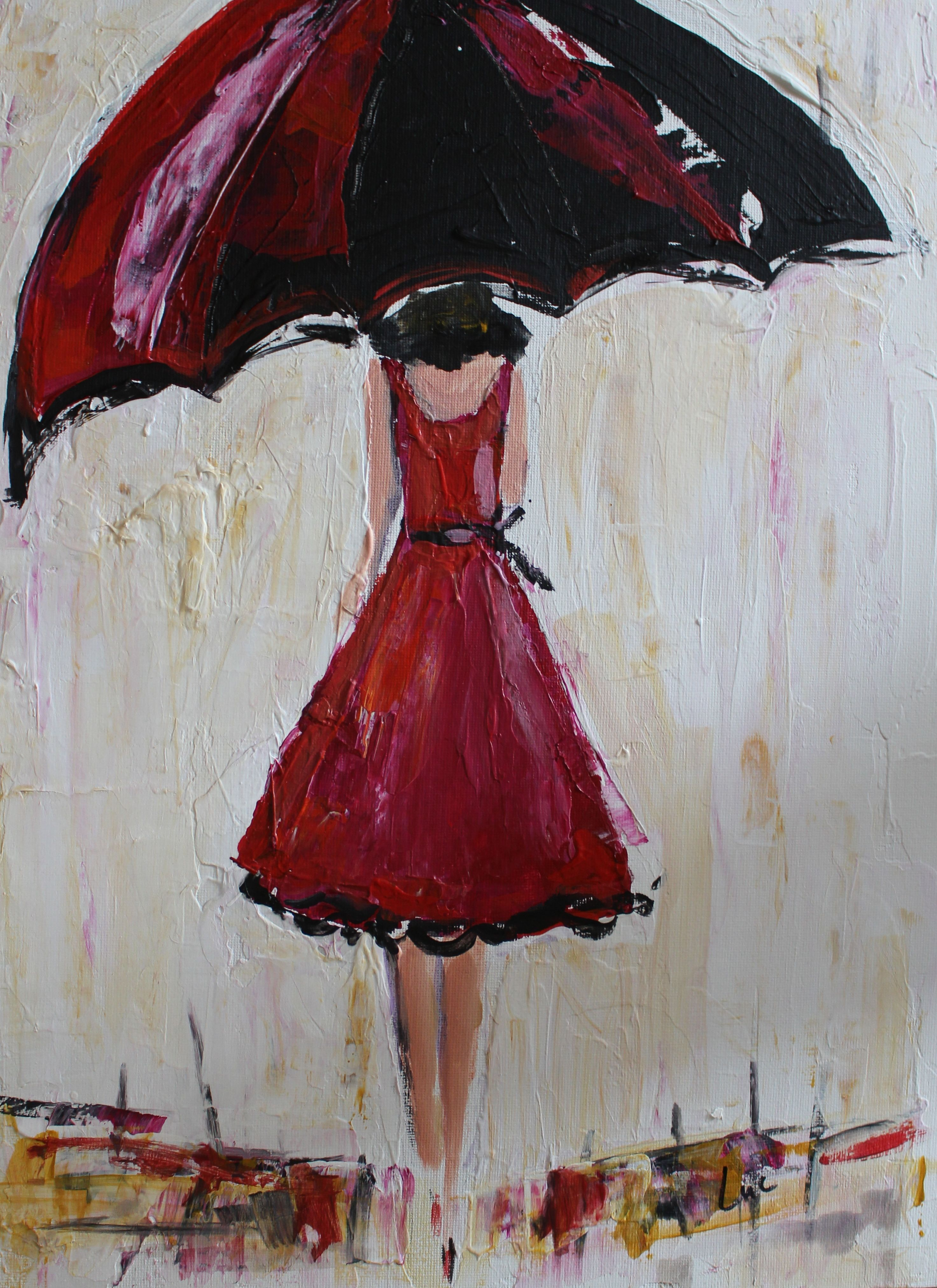 Buy a custom umbrella girl in red ii acrylic painting for Painting red umbrella