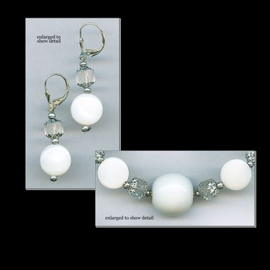 Custom Made White Wedding Necklace & Earrings Set