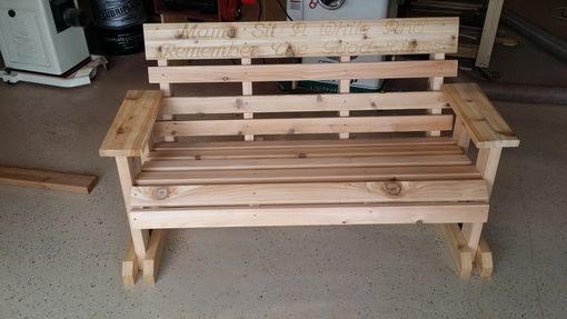 Custom Made Cedar Memorial Garden Bench