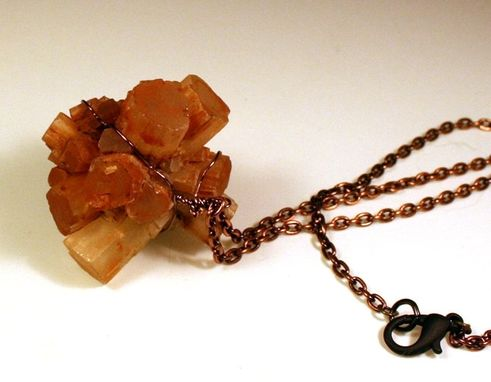 Custom Made Aragonite Cluster Necklace On Antique Genuine Copper Segment Chain With Black Clasp
