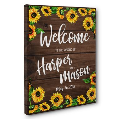Custom Made Sunflower Welcome To Our Wedding Ceremony Canvas Art