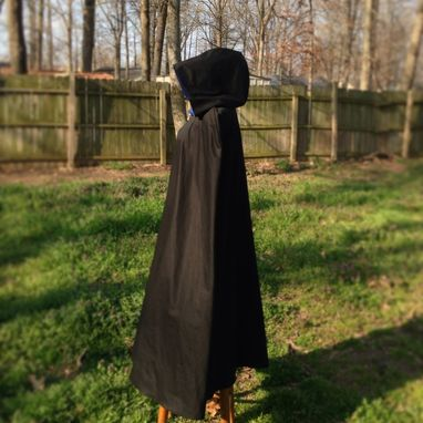Custom Made Waterproofed Winter Cloak: Black Cotton Twill, Fully Lined In Flannel
