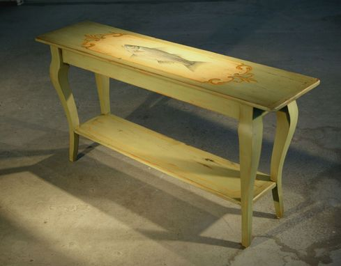 Custom Made Custom Wood Sofa Table With Hand Painting Of Fish
