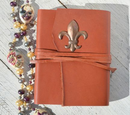 Custom Made Handmade Red Leather Bound Journal New Orleans Travel Diary Fleur De Lis Vintage Map Art Notebook