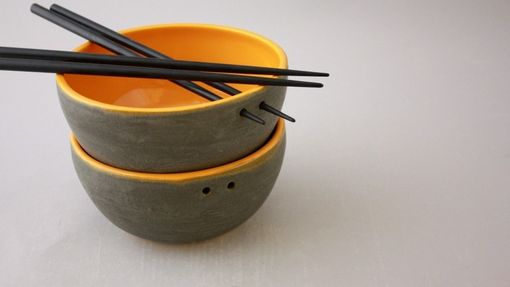 Custom Made Modern Ceramic Chopstick Bowls In Graphite Gray And Clementine