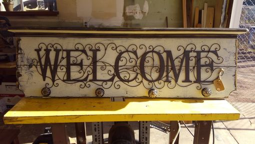 Custom Made Rustic Welcome Sign With Marble Mix Door Handles And Shelf.