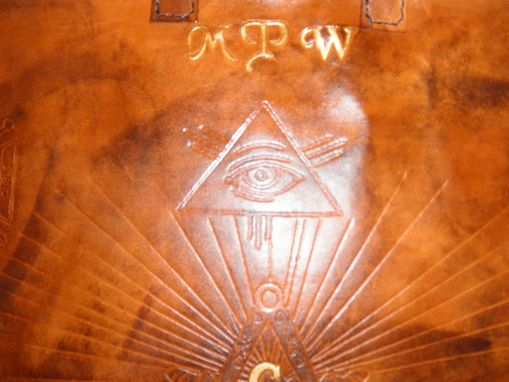 Custom Made Custom Leather Mason Apron Case With All Seeing Eye And In Weathered Color