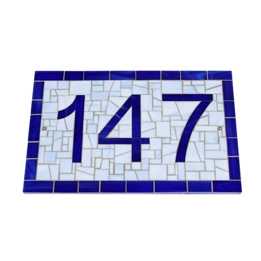 Custom Made House Number Sign In Navy And Blue Mosaic Glass Tiles