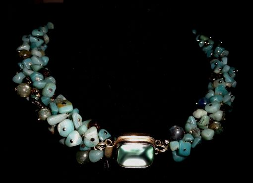 Custom Made Amazonite, Kyanite Cluster Necklace W/Blue Glass Box Clasp
