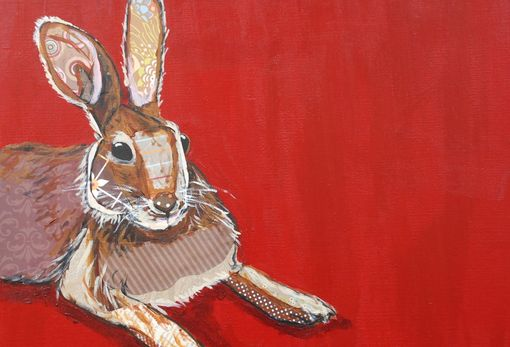 Custom Made Brown Hare On Red Limited Edition Print