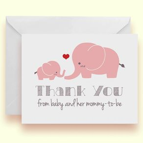 Pink Elephant Baby Shower Thank You Cards - Cute Baby