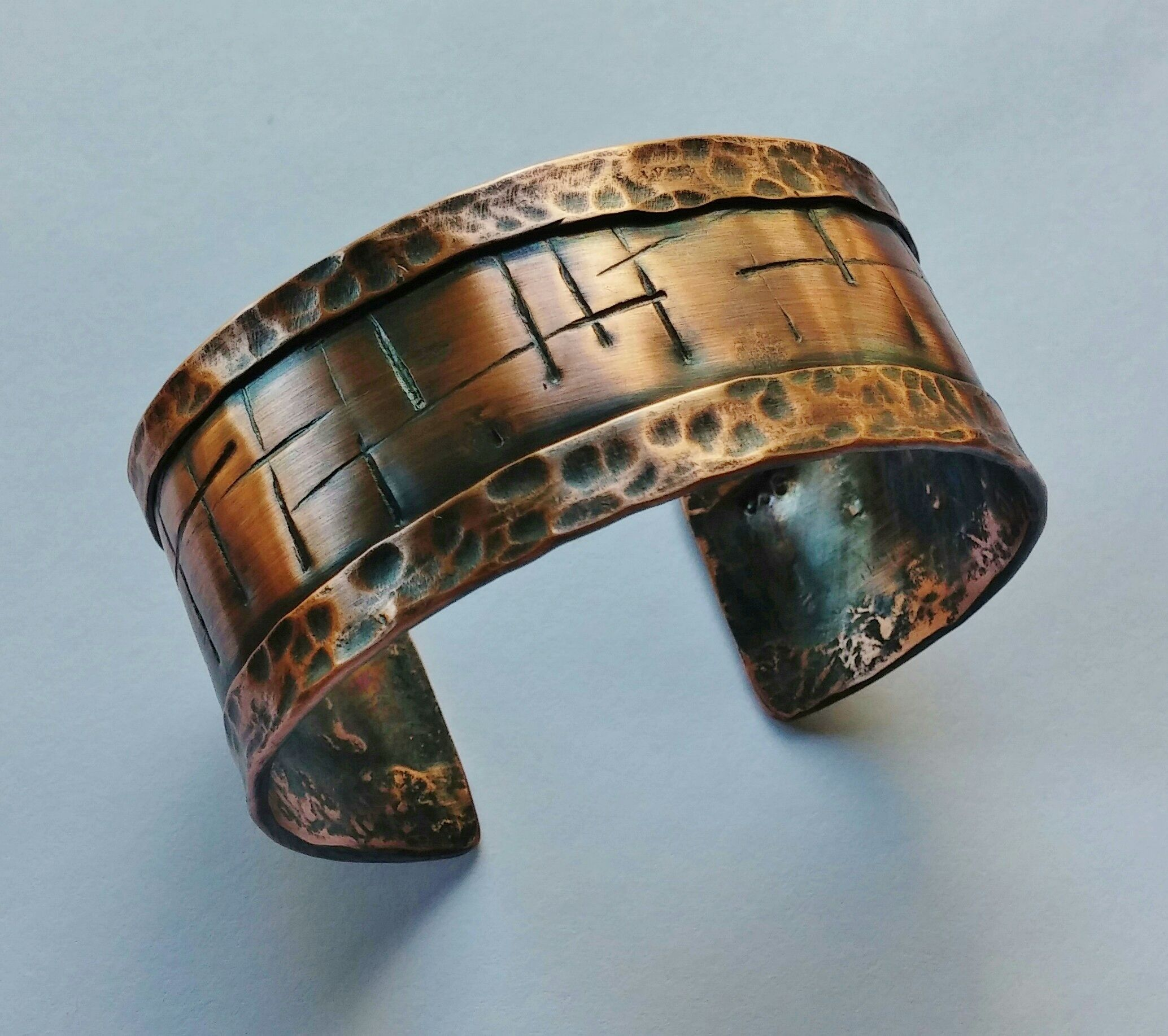 Custom Made Chiseled And Hammered Cuff Bracelet In Solid Copper