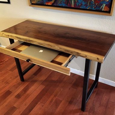 Custom Made Walnut Live-Edge Desk With Hand-Forged Metal Legs And Custom Laptop Tray