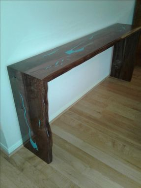 Custom Made Waterfall Live Edge Console Table With Turquoise Inlay