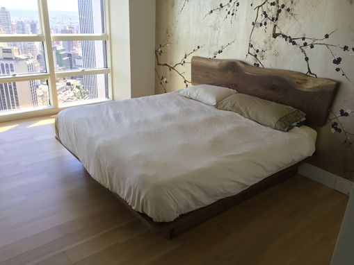 Custom Made Walnut Platform Bed With A Natural Edge Walnut Headboard And Storage.