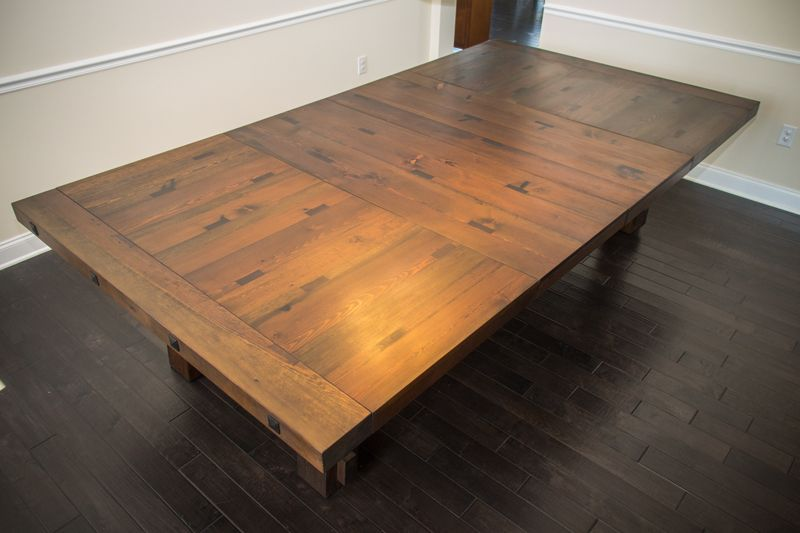 Custom Reclaimed Heart Pine Trestle Dining Table By