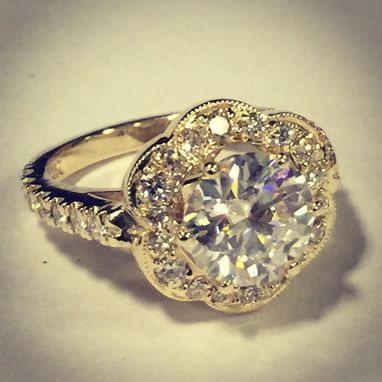 Custom Made Diamond Engagement Ring - Art Deco Style