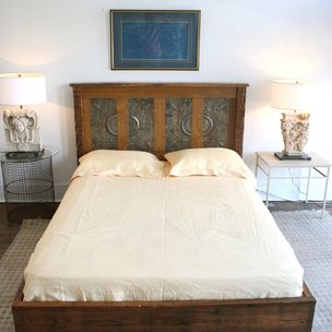 Queen Platform Bed Made From Reclaimed New Orleans Homes And Victorian Ceiling Tin By