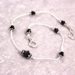 Custom Bracelet Or Anklet Knotted Silk Cord And Swarovski Crystals By Sarah Troedson