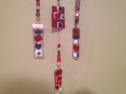 Custom Made Fused Glass Americana Style Wind Chime Or Sun Catcher With Red, White And Blue