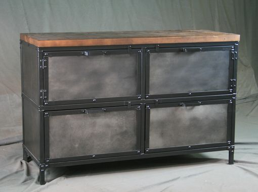 Custom Made Modern Industrial File Cabinet - Reclaimed Wood - Distressed Steel - Filing. Printer Stand.