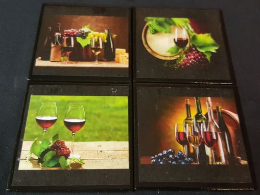 Custom Made Wine Lovers Ceramic Tile Coaster Set