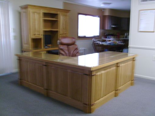 Custom Made Executive Desk With Matching Computer Station