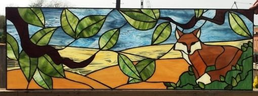 "Custom Made Stained Glass Transom - ""Wild Fox"" (Tw-44)"
