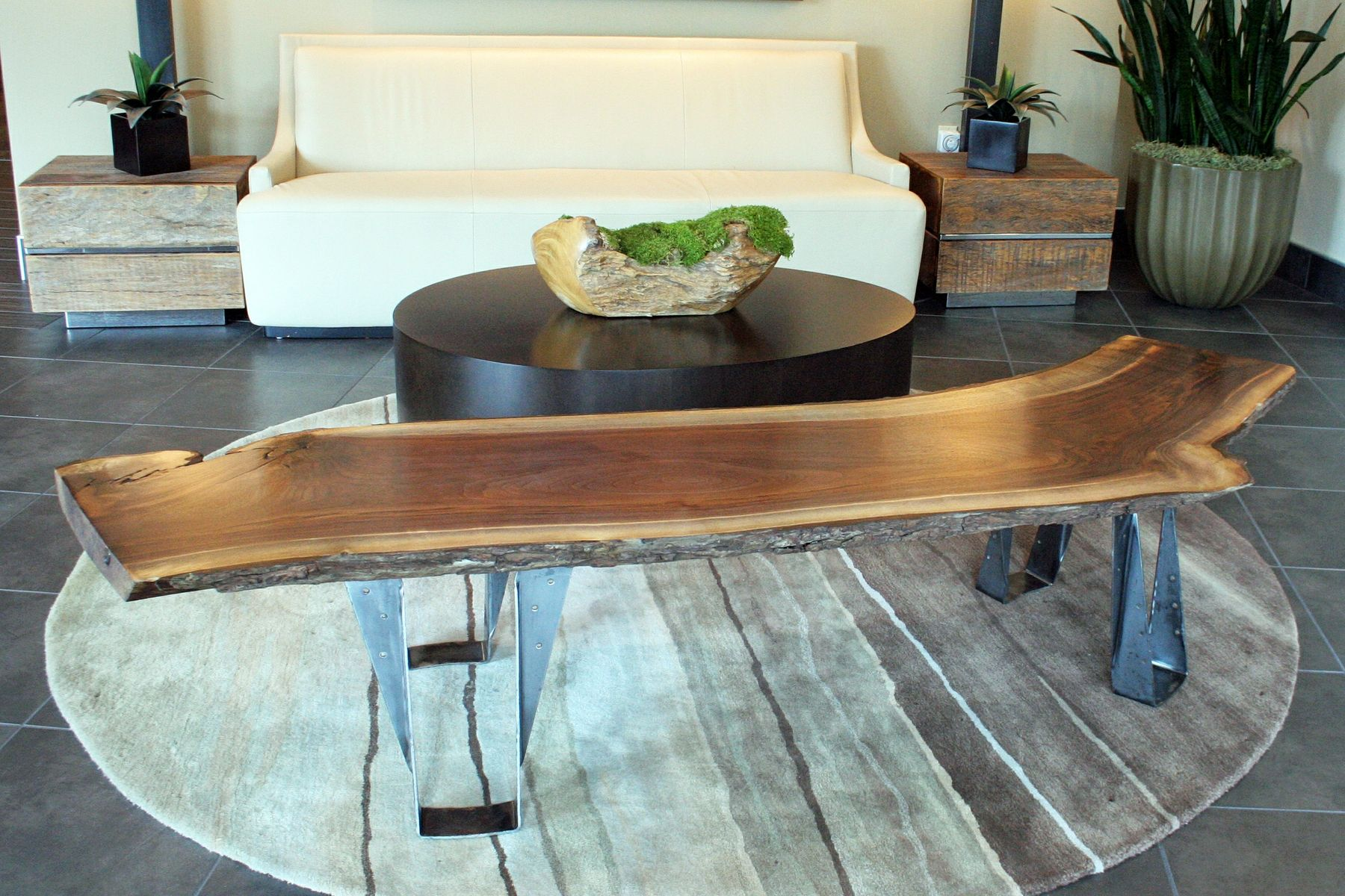 Handmade Custom Black Walnut Slab Bench Coffee Table With Live