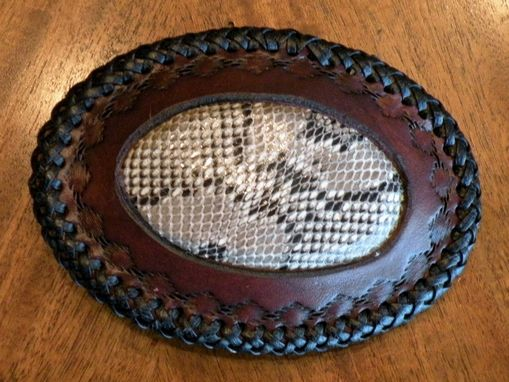 Custom Made Python Skin Inlay Belt Buckle