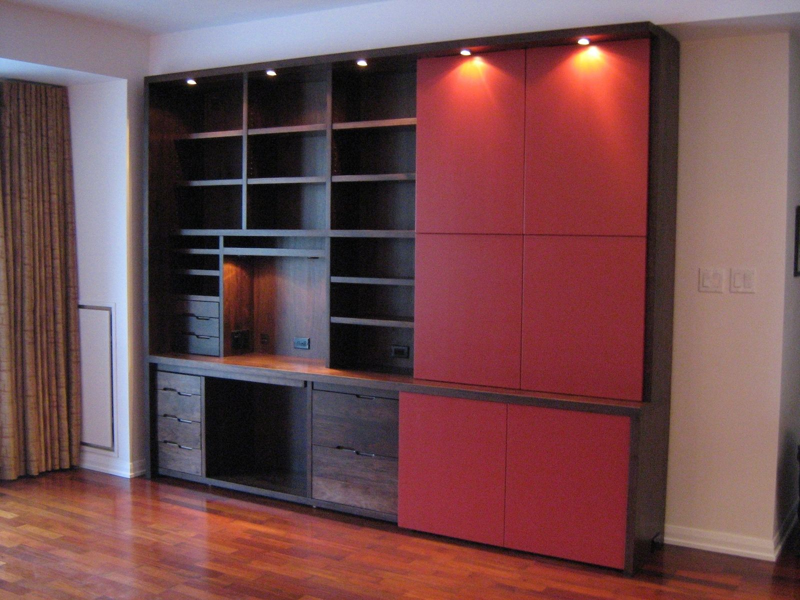 Custom Made Modern Walnut Home Office Cabinet