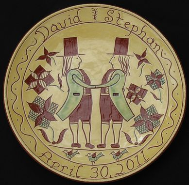 Custom Made Redware Wedding/Anniversary Plate Decorated Using The Sgraffito Techinque