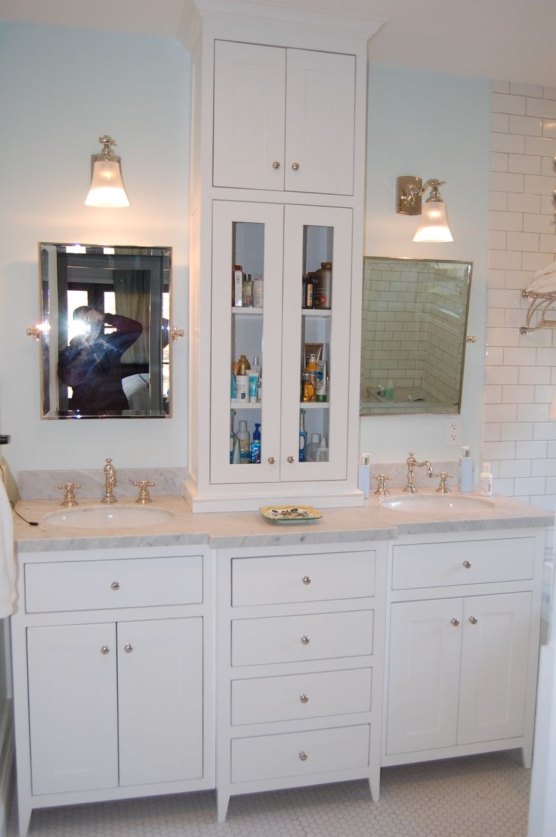 custom made white bathroom vanity with tower