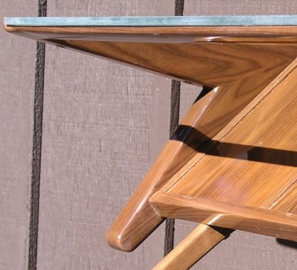 Custom Made Mid Century Modern Coffee Table With Glass Top, Solid Wood, Black Walnut.