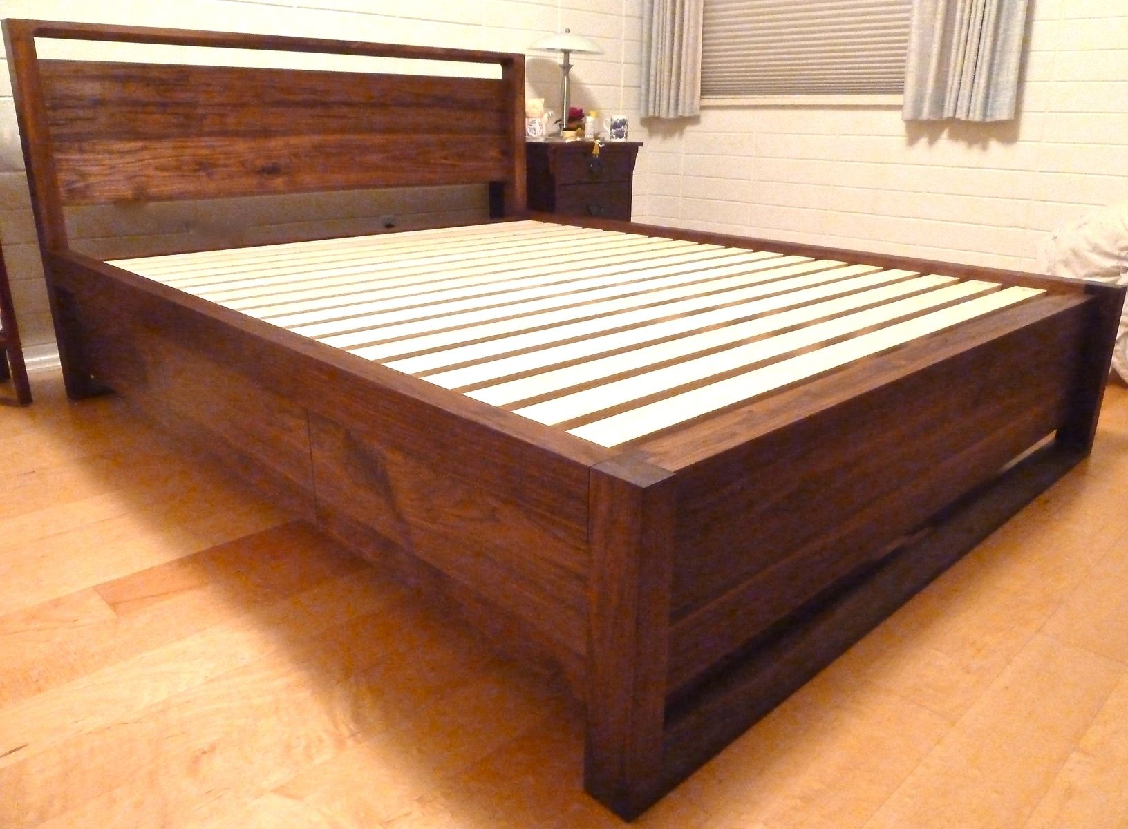 Custom Walnut Queen Storage Bed by Culbertson Design | CustomMade.com