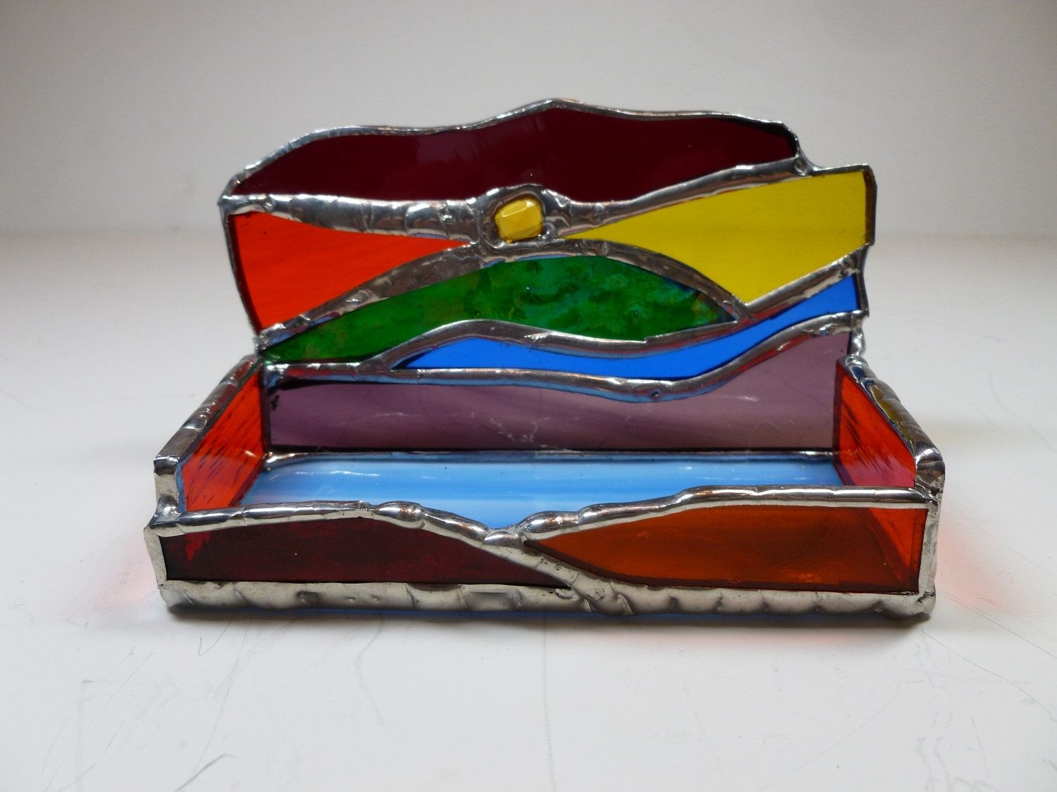 Custom made multi colored stained glass business card holder with custom made multi colored stained glass business card holder with glass gem funky fun colourmoves