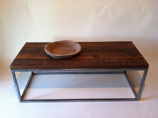 Custom Made Reclaimed Wood Coffee Tables With Rectagular Polished Metal Base