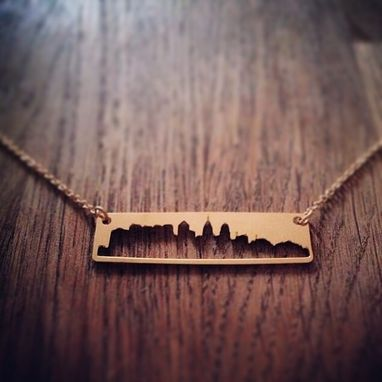 Custom Made Gold Plated Brass Bar Pendant Necklace