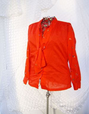 Custom Made Vintage Fabric Red Blouse With Embroidered Sleeves And Tie Collar, Size Extra Large