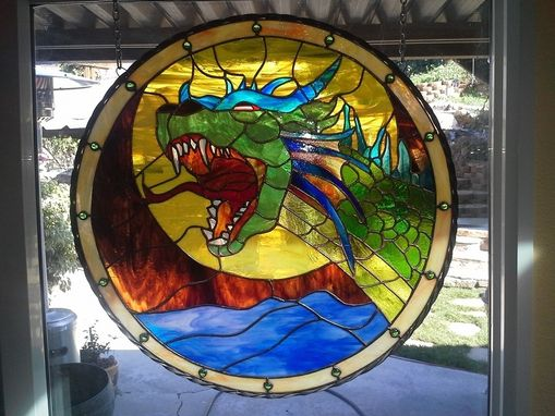Custom Made Stained Glass - Medieval Dragon