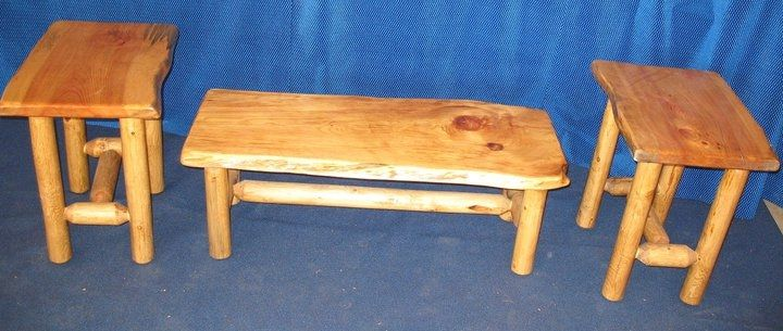 Custom Made Knotty Pine Coffee Table And End Tables