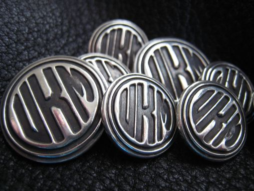 Custom Made Sterling Silver Blazer Buttons With Art Deco Circle Monogram