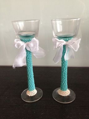 Custom Made Beaded Candle Holder Set - Mint